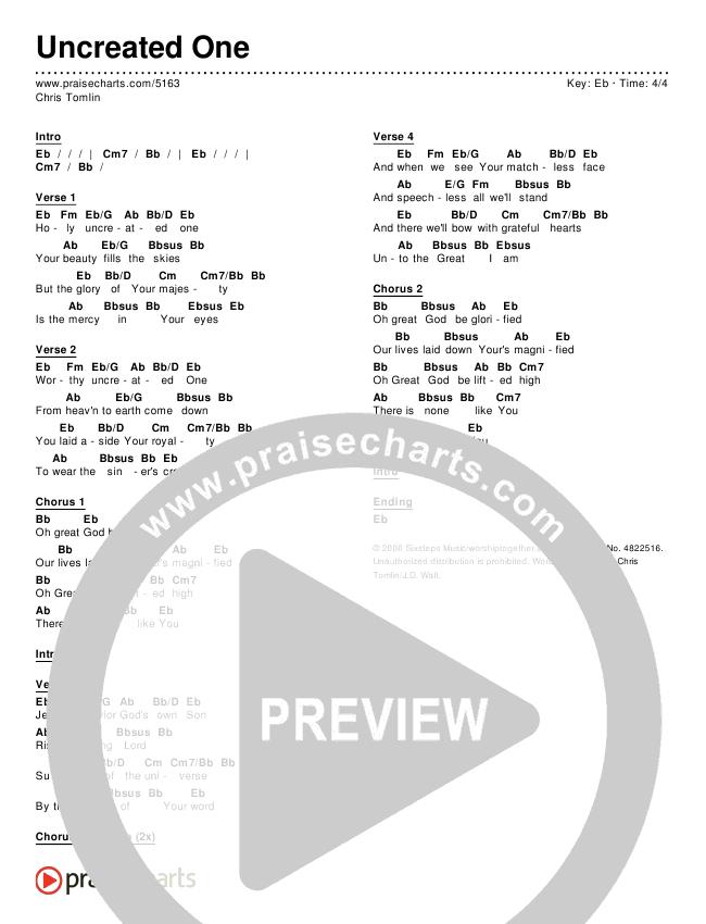 Uncreated One Chords & Lyrics (Chris Tomlin)