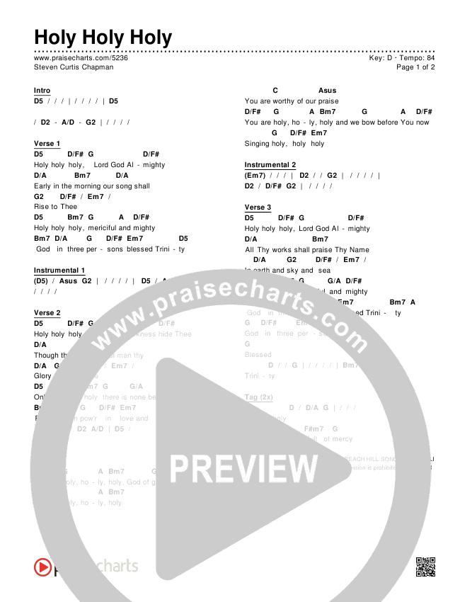 Holy Holy Holy Chords & Lyrics (Steven Curtis Chapman)
