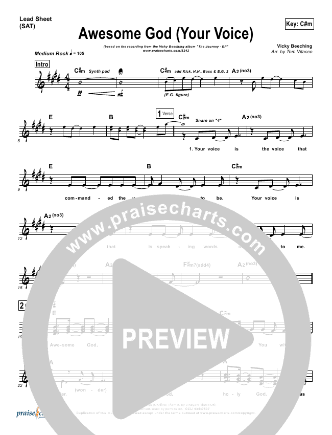 Awesome God (Your Voice) Lead Sheet - Vicky Beeching | PraiseCharts