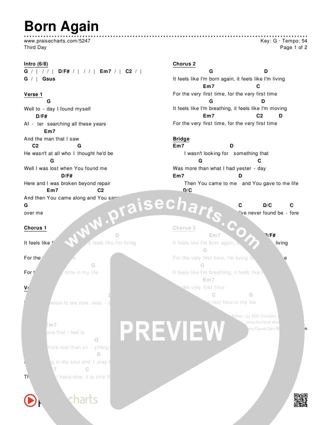 Born Again Chords - Third Day | PraiseCharts