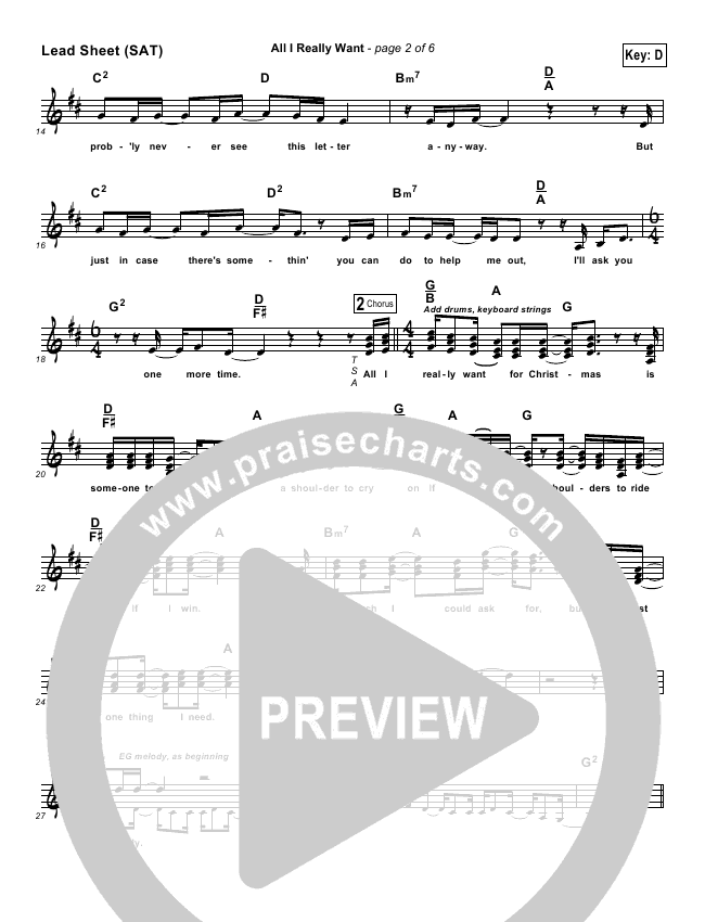 All I Really Want Lead Sheet (Steven Curtis Chapman)