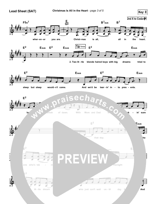 Christmas Is All In The Heart Lead Sheet (SAT) (Steven Curtis Chapman)