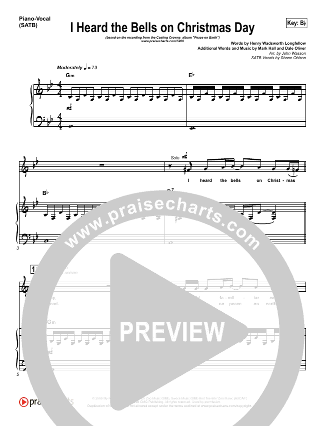 I Heard The Bells On Christmas Day Piano/Vocal (SATB) (Casting Crowns)