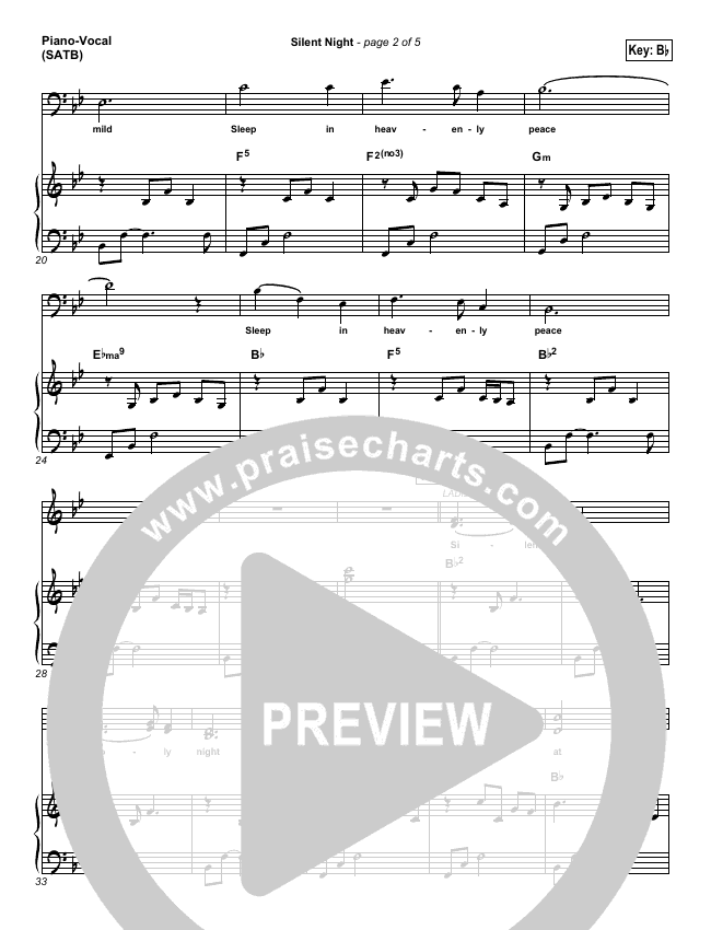 Silent Night Piano/Vocal (SATB) (Casting Crowns)