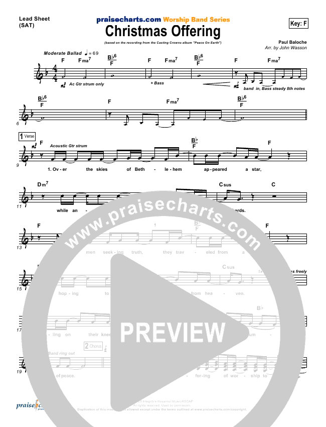 casting crowns christmas offering lead sheet in f p1 - Casting Crowns Christmas Songs