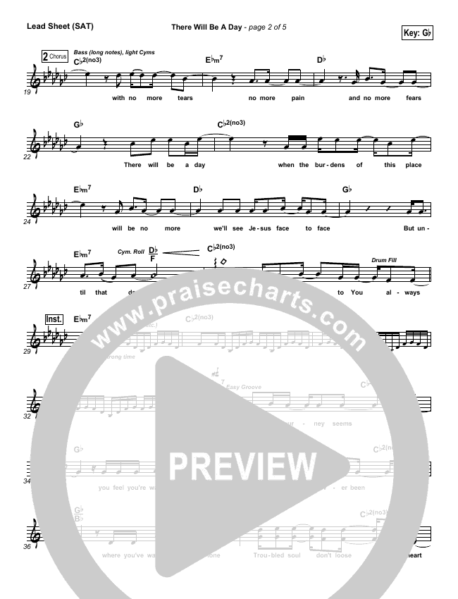There Will Be A Day Lead Sheet (SAT) (Jeremy Camp)