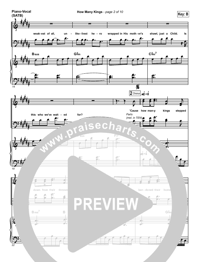 How Many Kings Piano/Vocal (SATB) (Downhere)