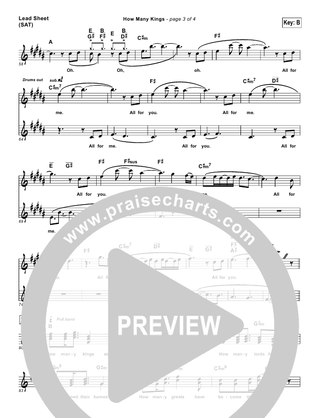How Many Kings Lead Sheet Pianovocal Downhere Praisecharts