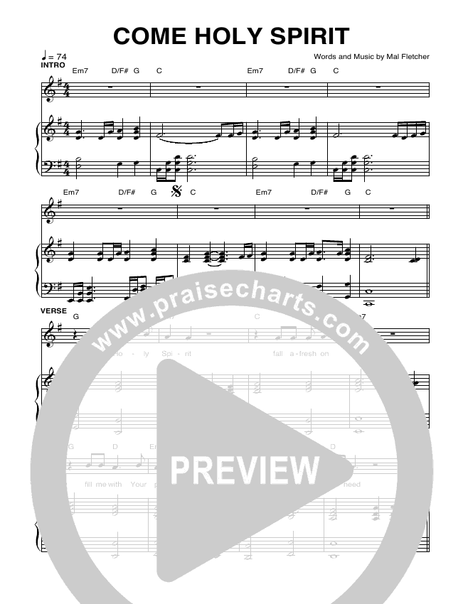 Come Holy Spirit Lead Sheet & Piano/Vocal - Planetshakers | PraiseCharts