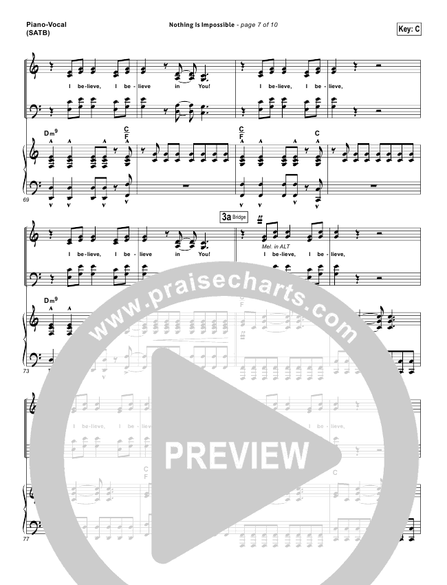 nothing is impossible lead sheet  u0026 piano  vocal