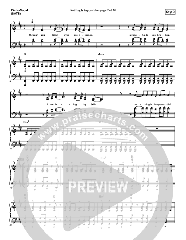 Nothing Is Impossible Piano/Vocal (SATB) (Planetshakers)