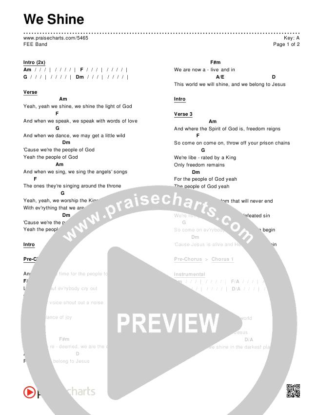 We Shine Chords & Lyrics (FEE Band)