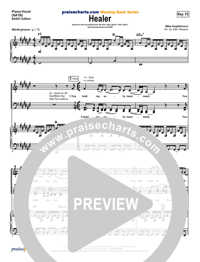 Healer Piano/Vocal (SATB) (Kari Jobe)