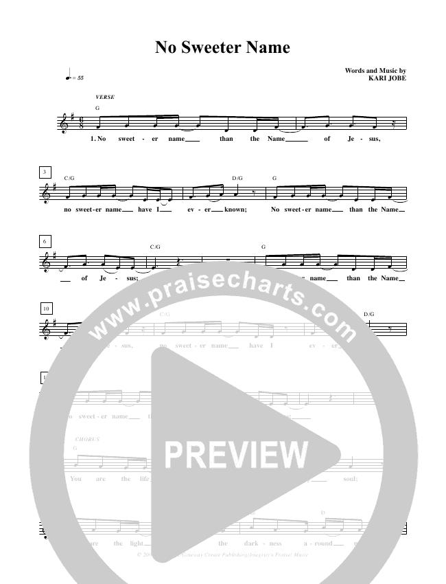 No Sweeter Name Lead Sheet Pianovocal Kari Jobe Praisecharts