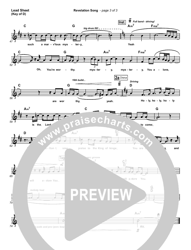 Revelation Song Lead Sheet (Melody) (Kari Jobe)