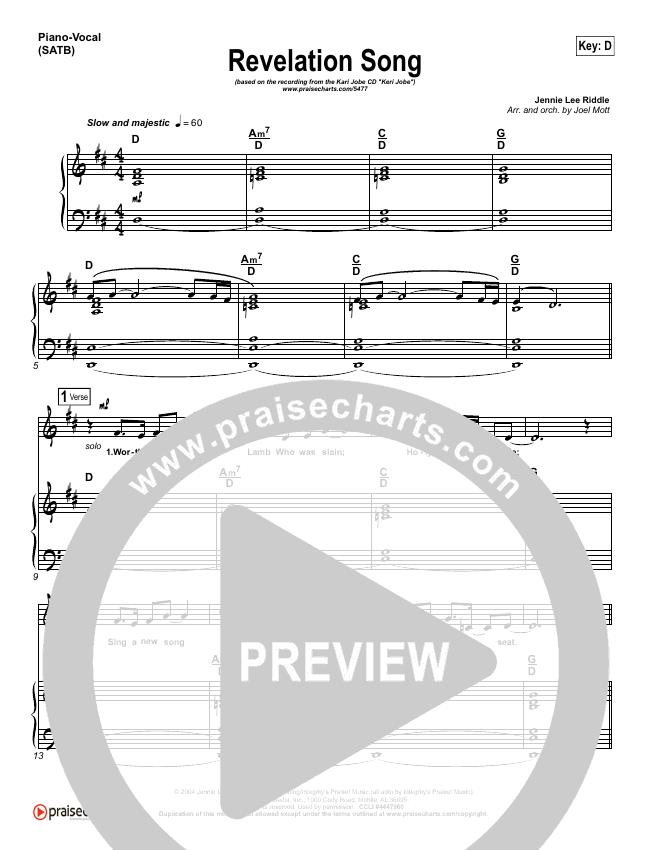 Revelation Song Piano/Vocal (SATB) (Kari Jobe)