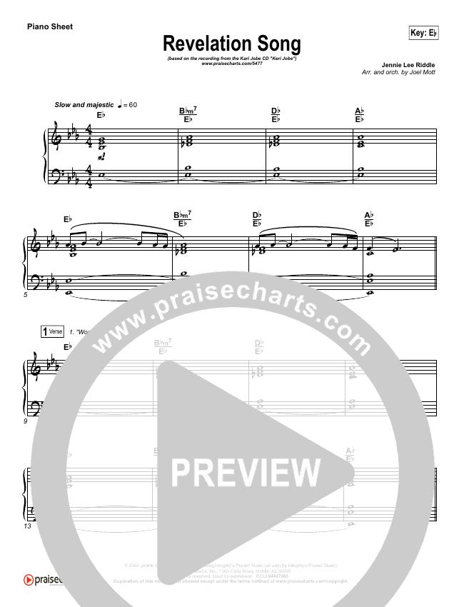 Revelation Song Piano Sheet (Kari Jobe)