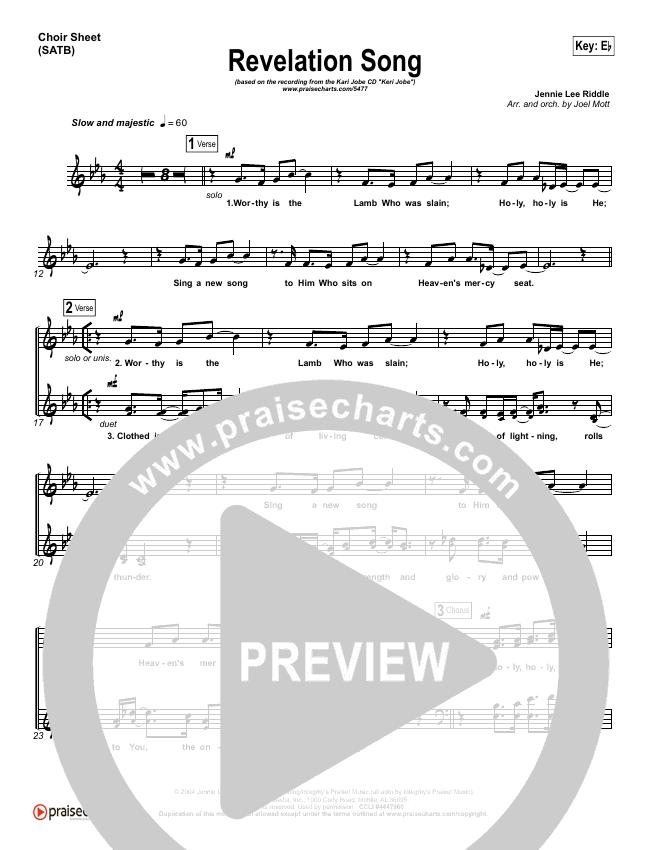 Revelation Song Choir Sheet (SATB) (Kari Jobe)