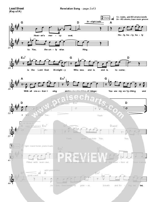 Revelation Song Lead Sheet (Melody) (Kari Jobe)