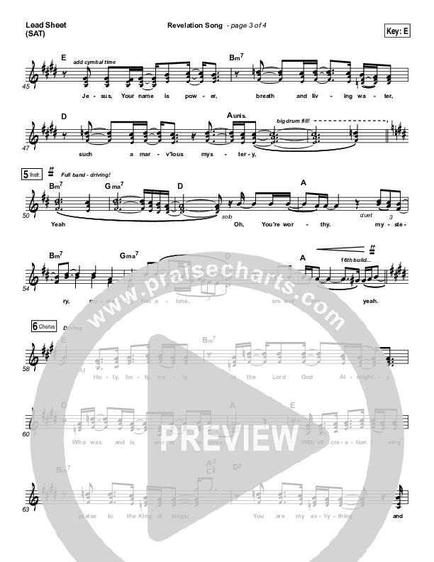 Revelation Song Lead Sheet (SAT) (Kari Jobe)