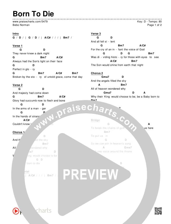 Born To Die Chords Bebo Norman Praisecharts