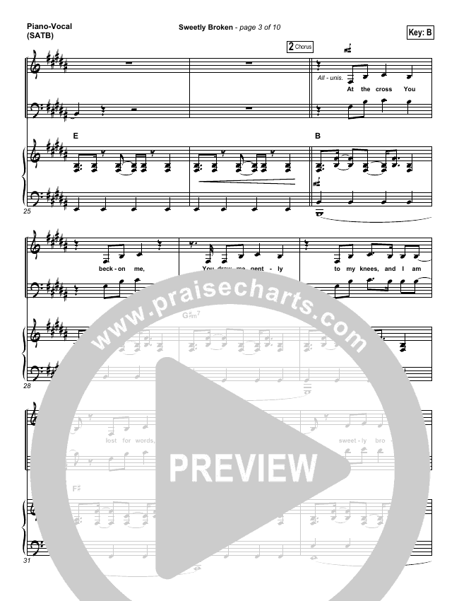 Sweetly Broken Piano/Vocal (SATB) (Jeremy Riddle)