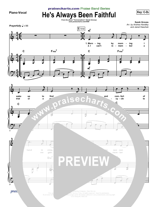 He's Always Been Faithful Piano/Vocal (SATB) (Sara Groves)