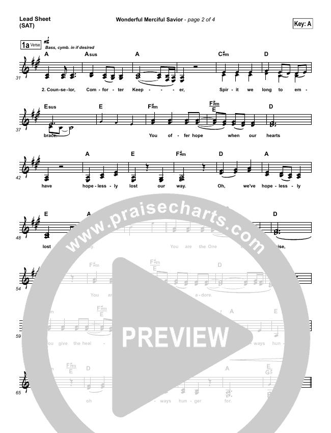 Wonderful Merciful Savior Lead Sheet & Piano/Vocal - Selah