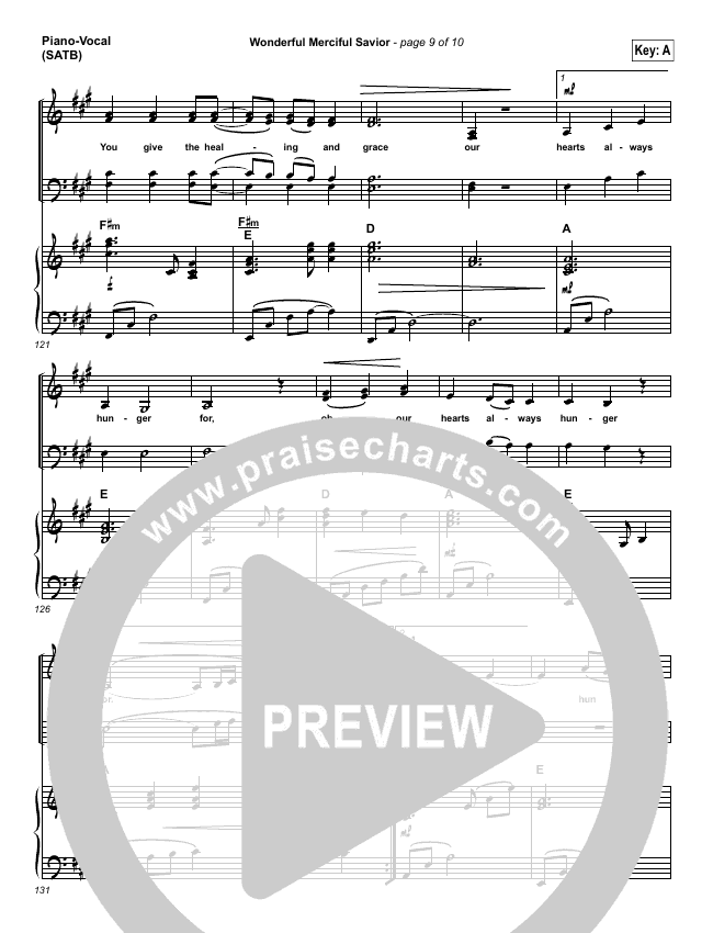 Wonderful Merciful Savior Lead Sheet Pianovocal Selah