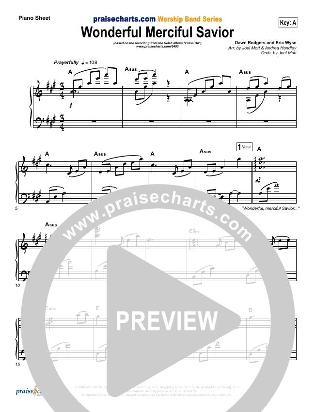 Wonderful Merciful Savior Piano Sheet (Selah)