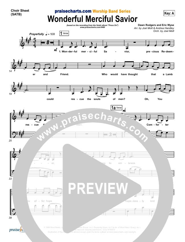Wonderful Merciful Savior Choir Sheet Satb Selah Praisecharts