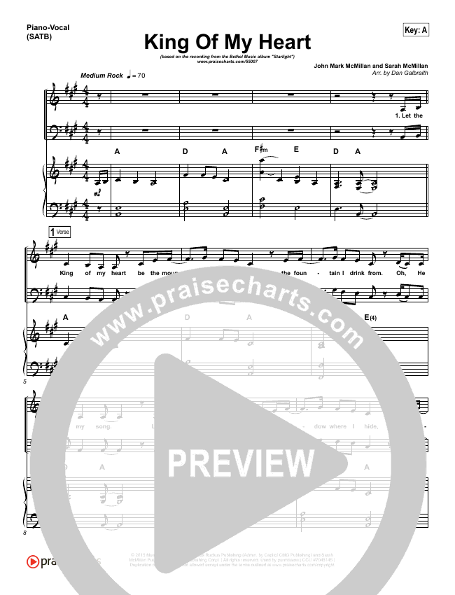 King Of My Heart Piano/Vocal (SATB) (Bethel Music)