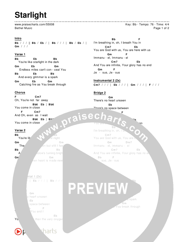 Starlight Chords - Bethel Music   PraiseCharts