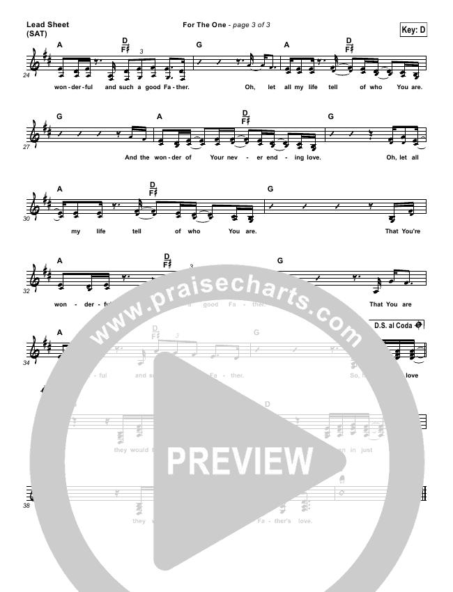 For The One Lead (SAT) (Bethel Music / Jenn Johnson)