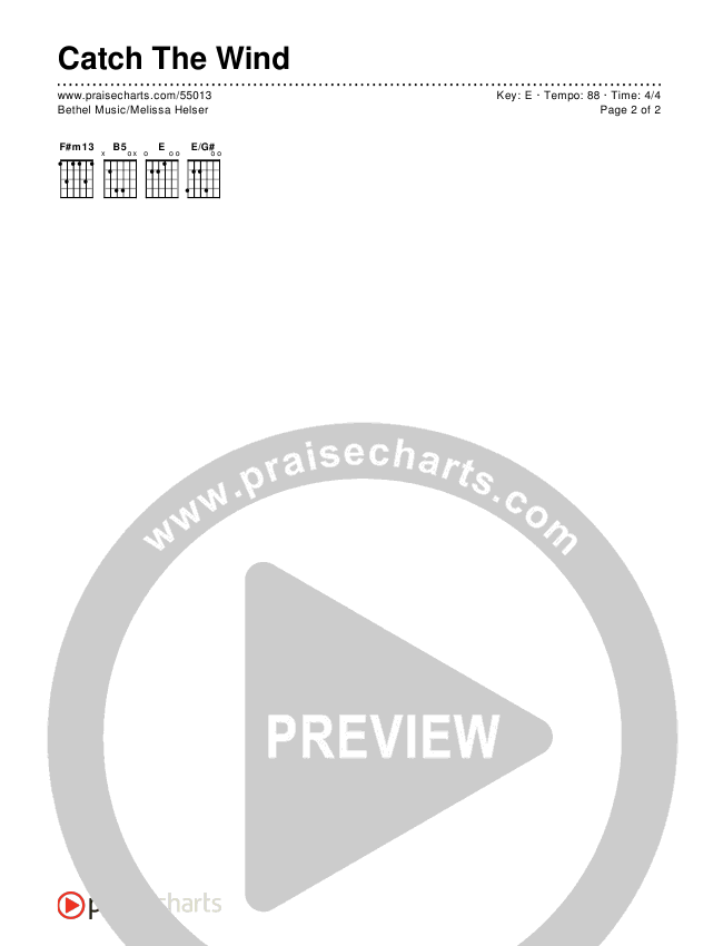 Catch The Wind Chords & Lyrics (Bethel Music / Melissa Helser)