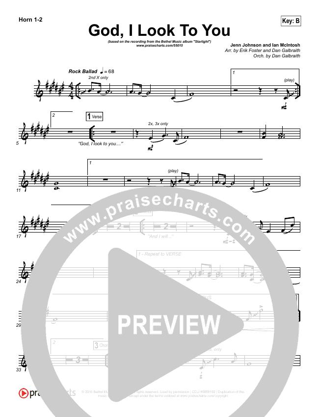 God I Look To You Brass Pack (Bethel Music / Francesca Battistelli)