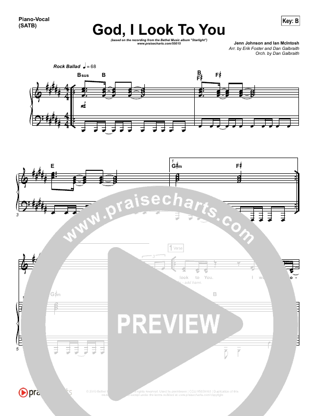 God I Look To You Piano/Vocal (SATB) (Bethel Music / Francesca Battistelli)