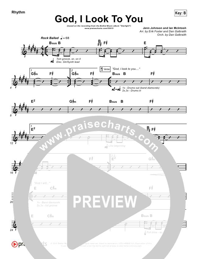 God I Look To You Rhythm Chart (Bethel Music / Francesca Battistelli)