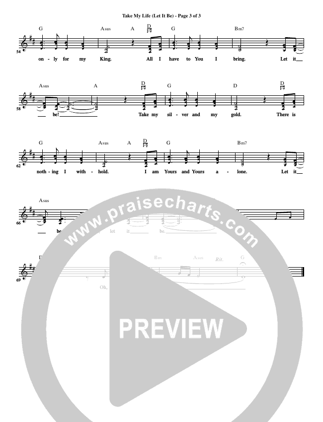 Take My Life (Let It Be) Lead Sheet (CH Worship)