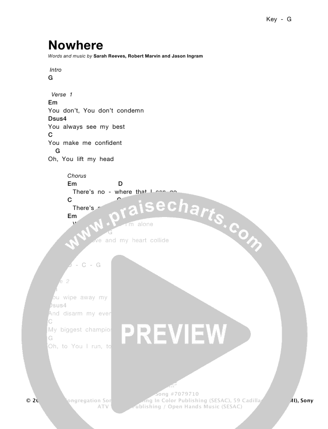 Nowhere Chords Sarah Reeves Praisecharts