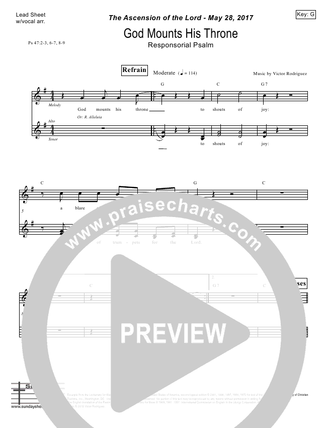 God Mounts His Throne (Psalm 47) Lead Sheet (Victor Rodriguez)