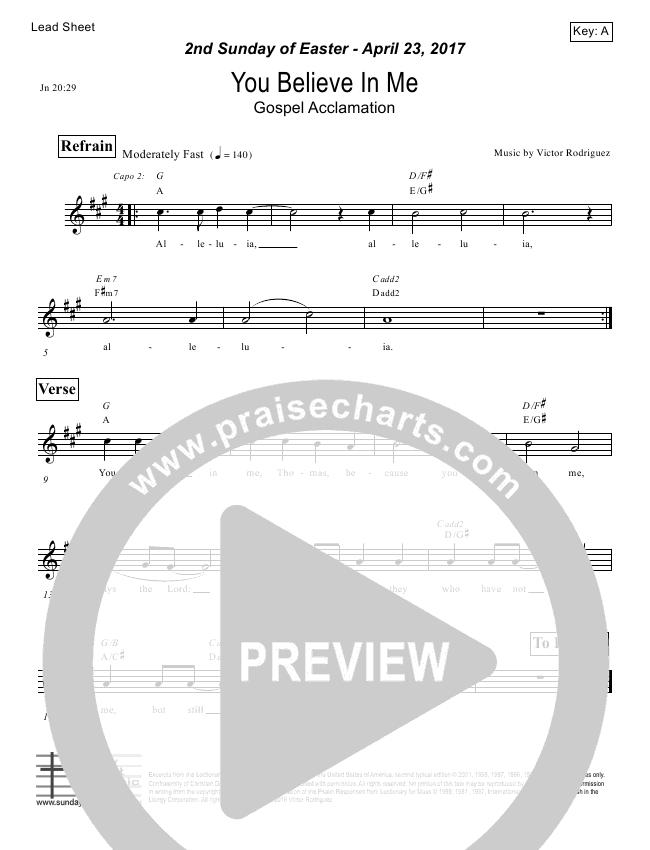 You Believe In Me (John 20) Lead Sheet (Victor Rodriguez)