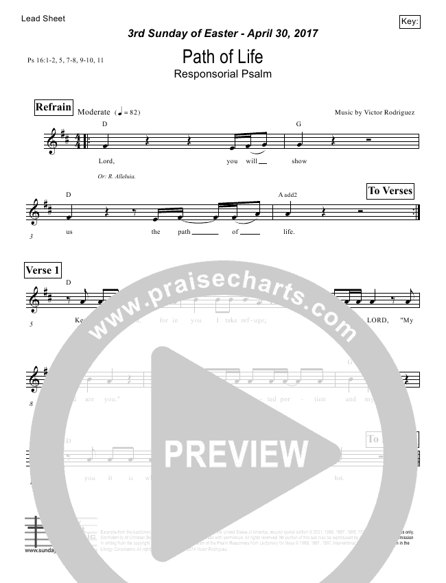 Path Of Life (Psalm 16) Lead Sheet (Victor Rodriguez)