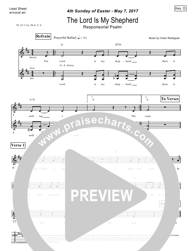 The Lord Is My Shepherd (Psalm 23) Lead Sheet (Victor Rodriguez)
