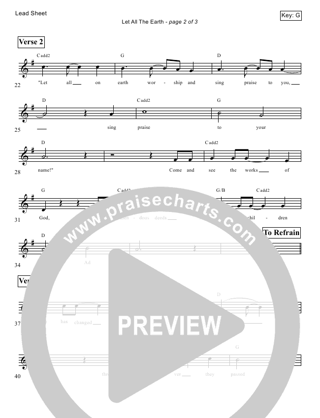 Let All The Earth (Psalm 66) Lead Sheet (Victor Rodriguez)