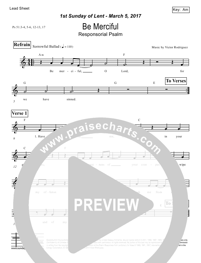 Be Merciful (Psalm 51) Lead Sheet (Victor Rodriguez)