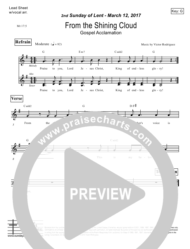 From The Shining Cloud (Matthew 17) Lead Sheet (Victor Rodriguez)