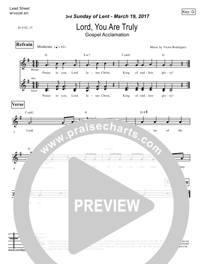 Lord You Are Truly (John 4) Lead Sheet (Victor Rodriguez)