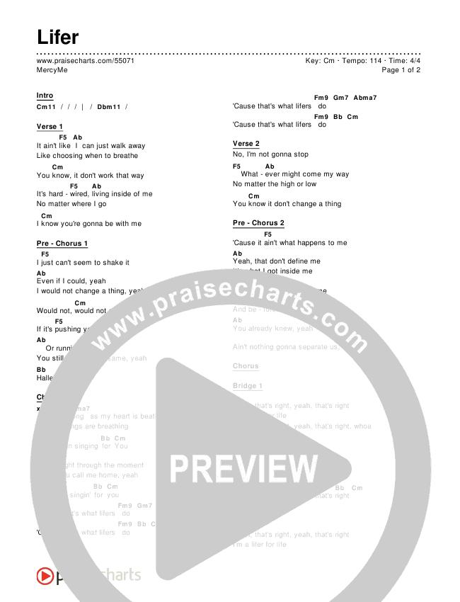 Lifer Chords Mercyme Praisecharts