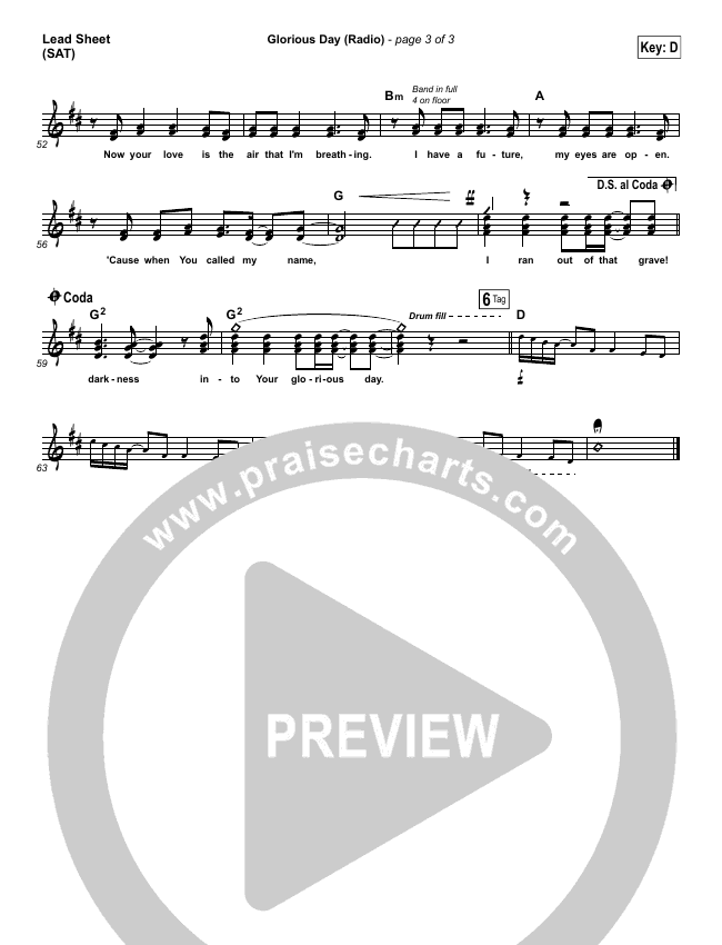 Glorious Day (Radio) Lead Sheet (SAT) (Passion / Kristian Stanfill)